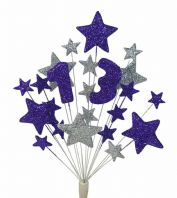 Number age 13th birthday cake topper decoration in purple and silver - free postage